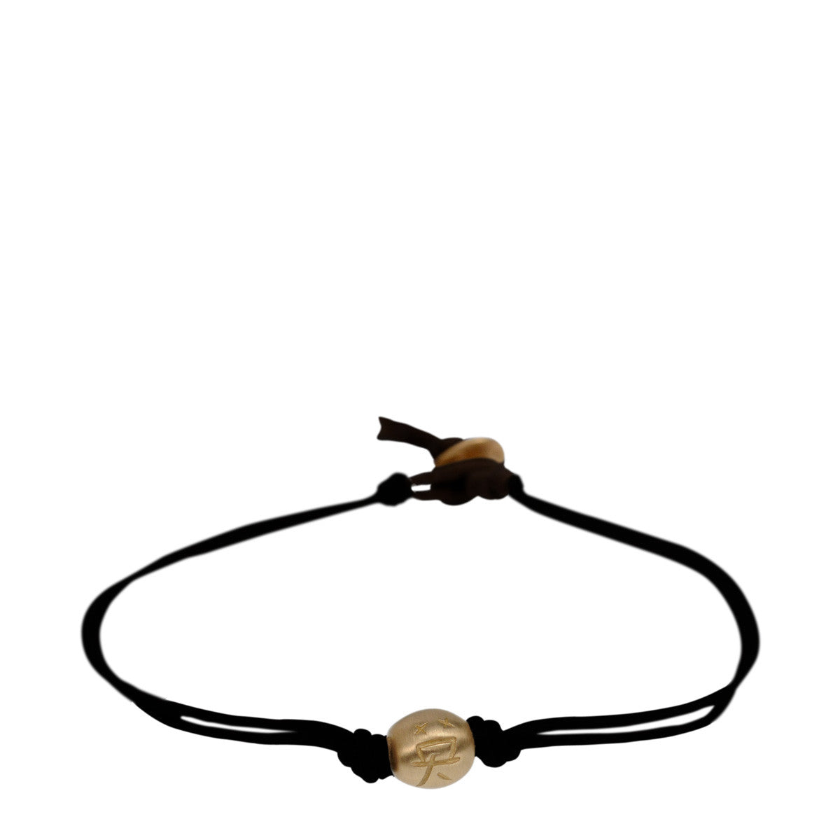 10K Gold Courage Bead Bracelet on Black Cord