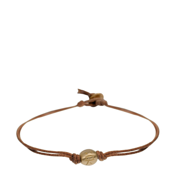 10K Gold Courage Bead Bracelet on Natural Cord