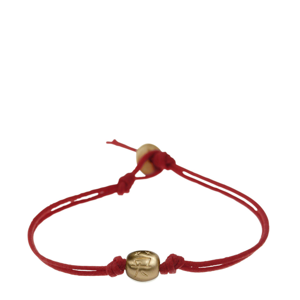 10K Gold Courage Bead Bracelet on Red Cord