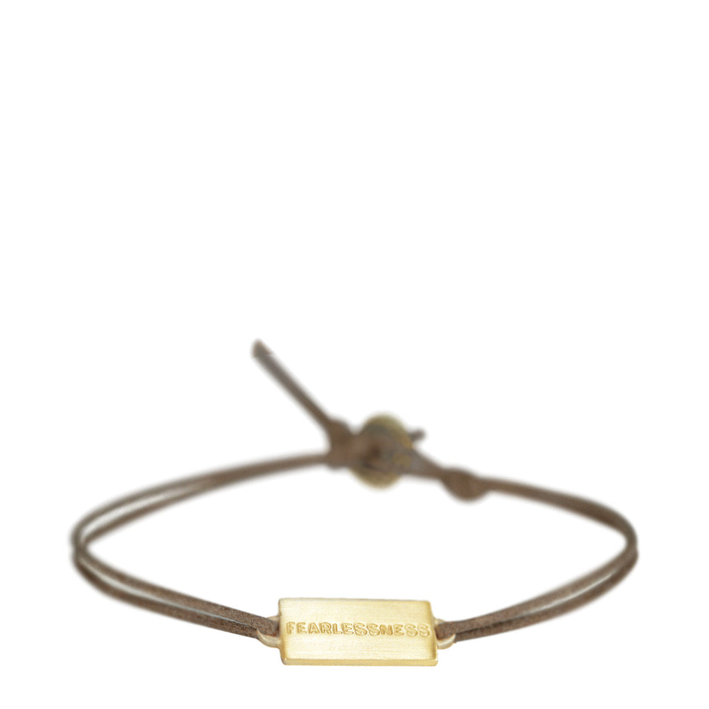 10K Gold Joyful Heart Fearlessness Bracelet on Cord