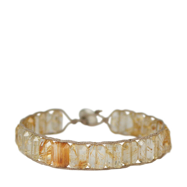 Sterling Silver Emerald Cut Rutilated Quartz Bracelet