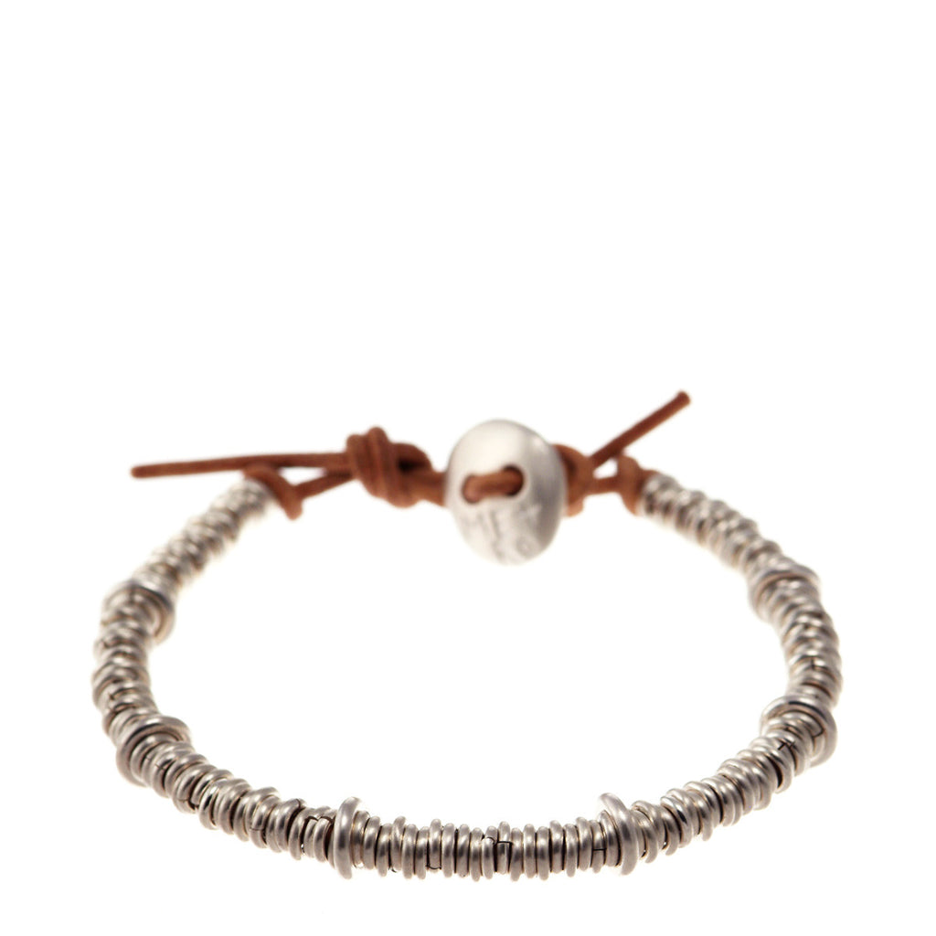 Sterling Silver Solid Jumpring Natural Leather Bracelet