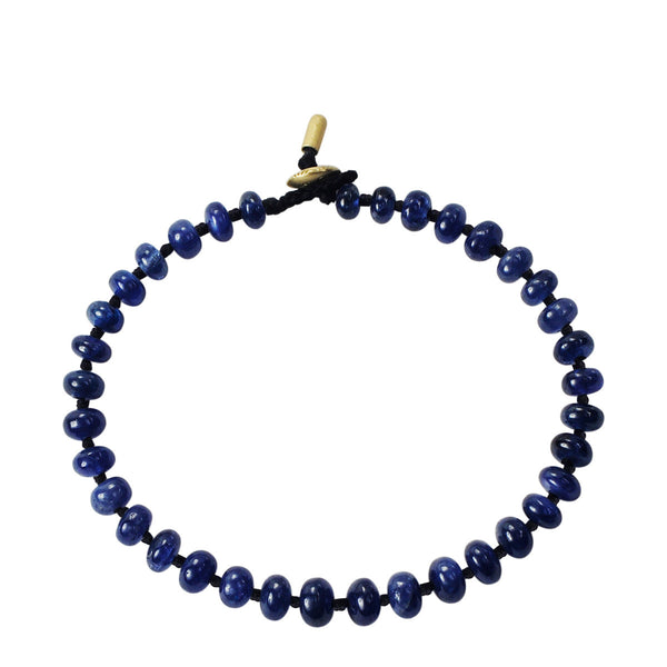18K Gold Knotted Sapphire Rondelle Bracelet
