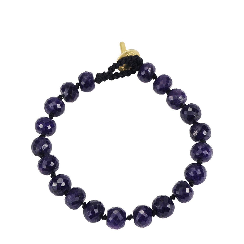 18K Gold Large Sapphire Knotted Bracelet