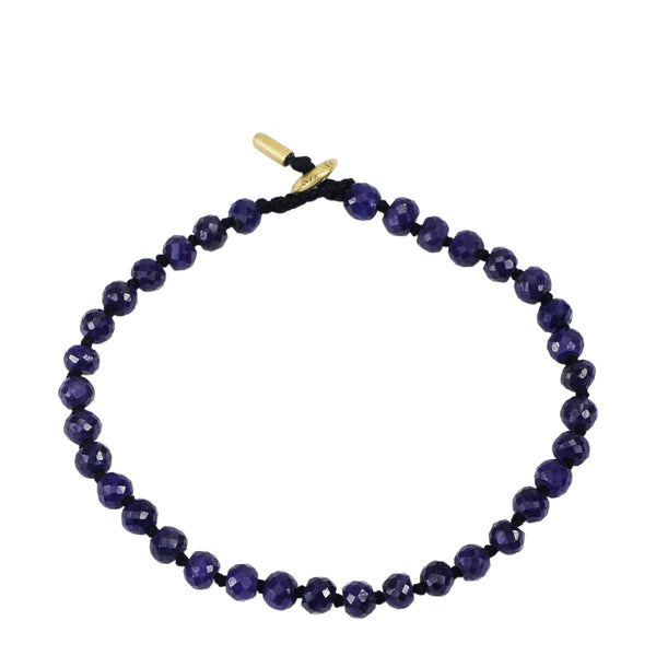 18K Gold Small Sapphire Knotted Bracelet