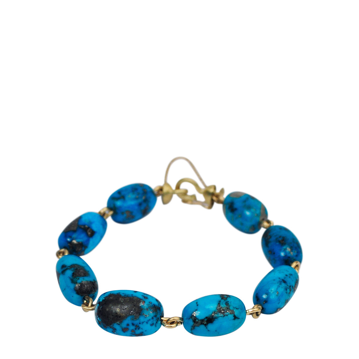 18K Gold Large Persian Turquoise Beaded Bracelet on Wire