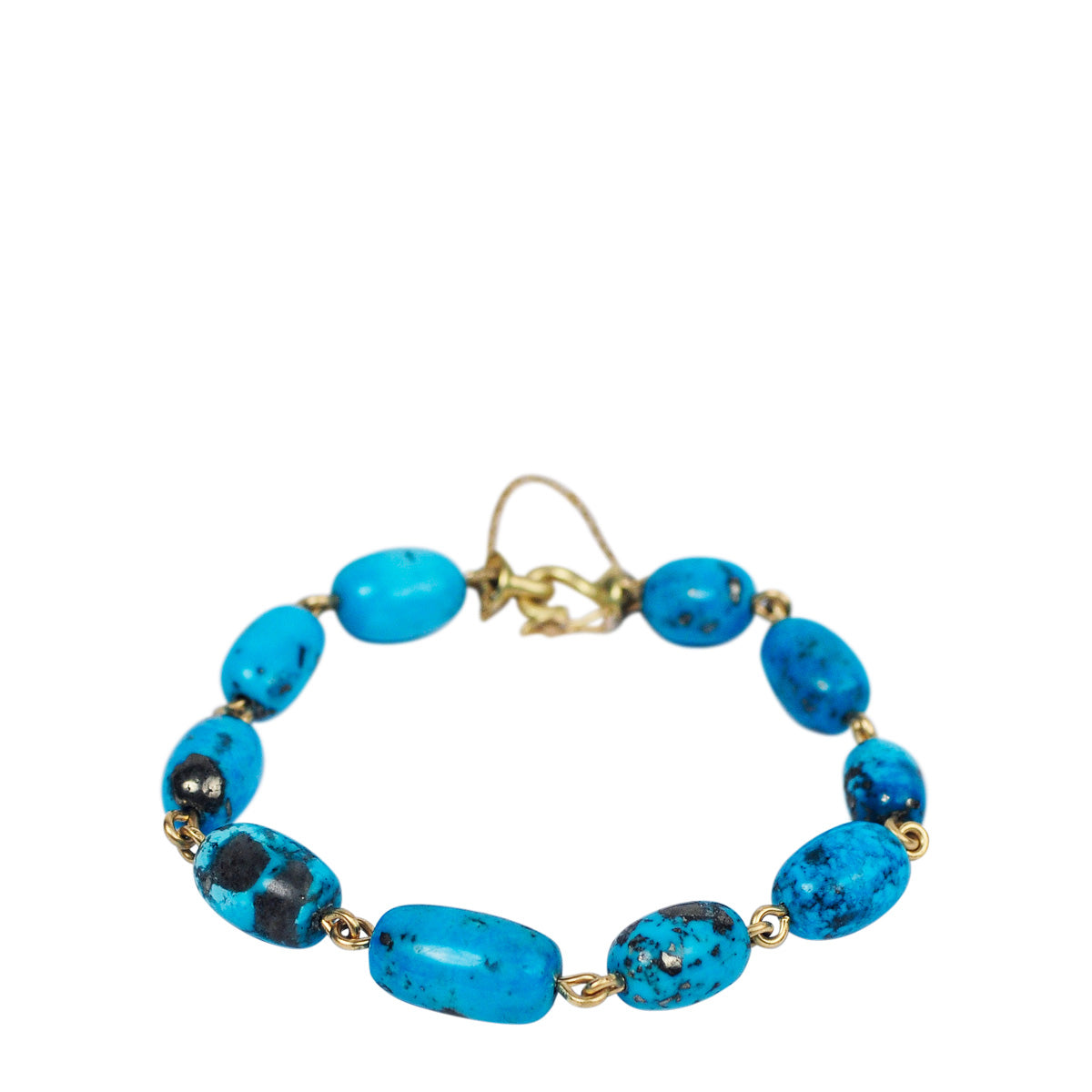 18K Gold Persian Square Turquoise Beaded Bracelet on Wire