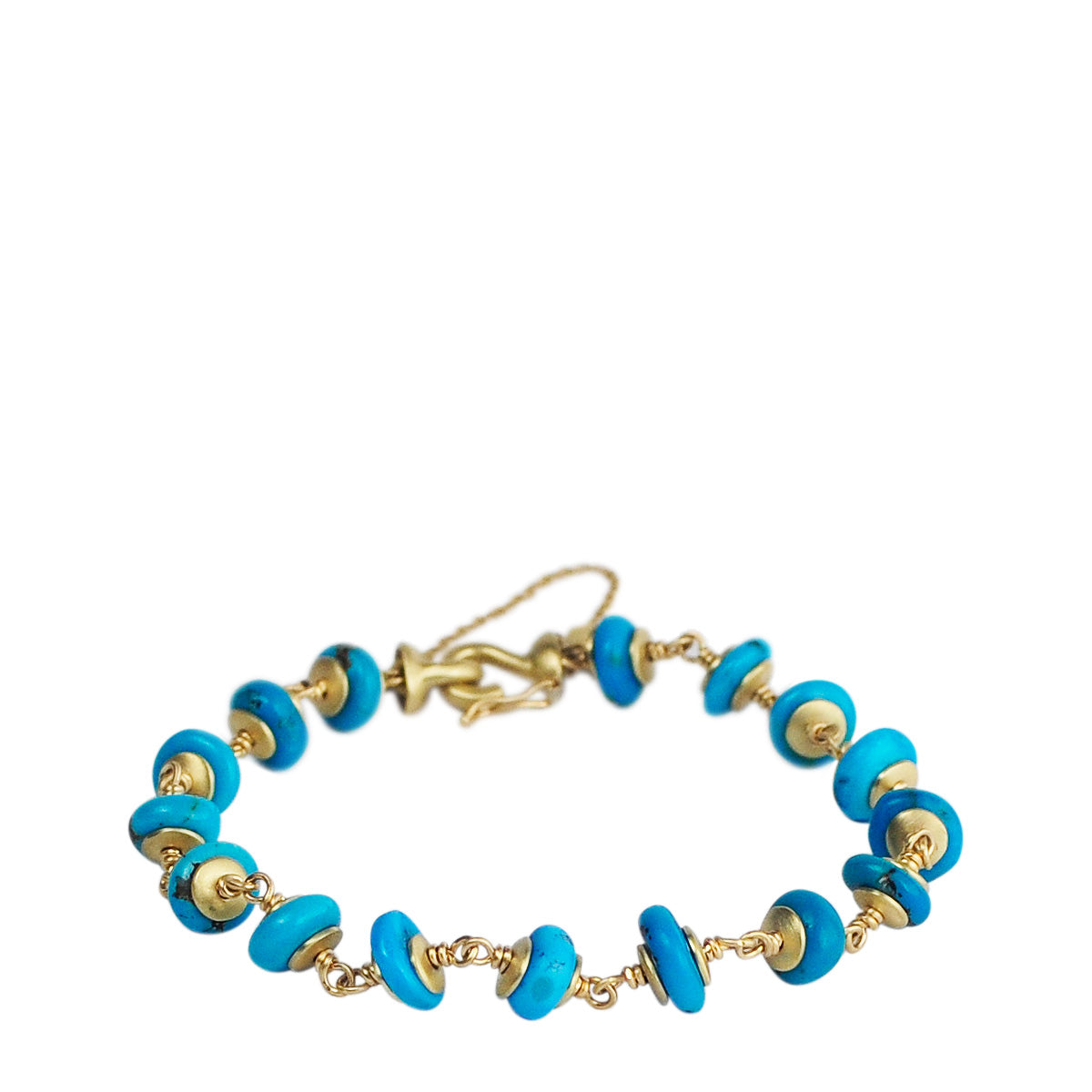 18K Gold Persian Turquoise Rondelle Bead Bracelet on Wire