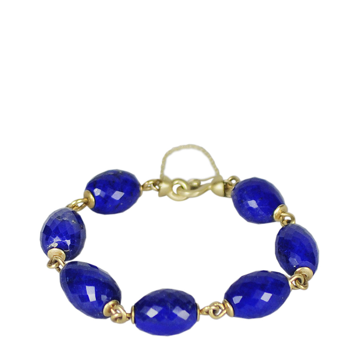 18K Gold Faceted Oval Lapis Bead Link Bracelet