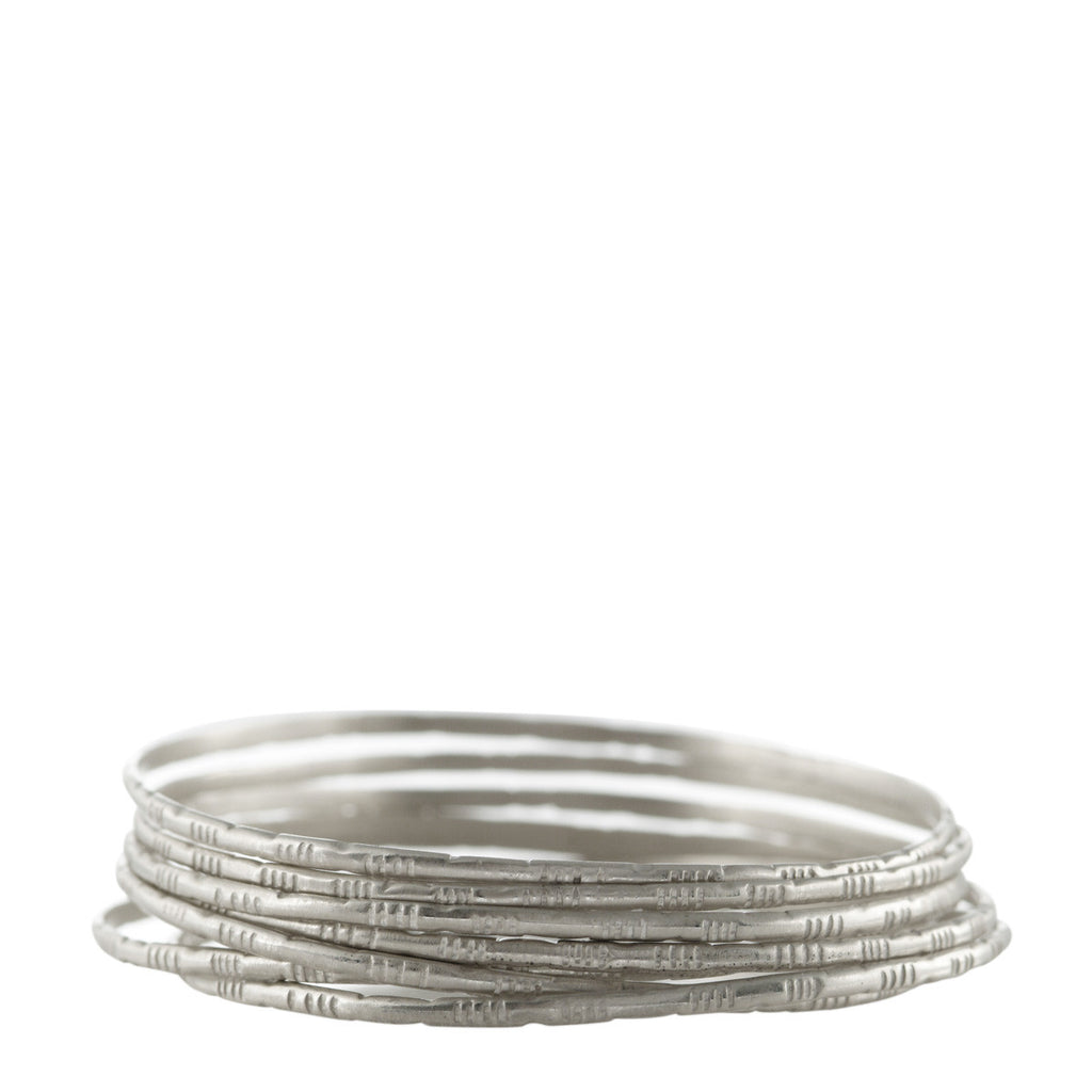 Sterling Silver Moroccan Bangles (Set of 7)