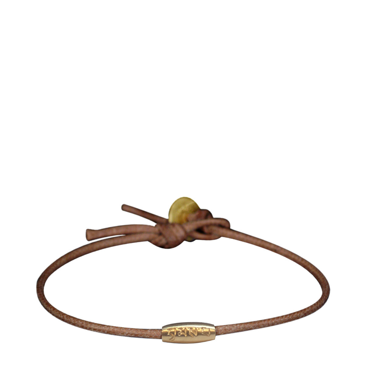 10K Gold Fine Love Bead Bracelet on Natural Cord