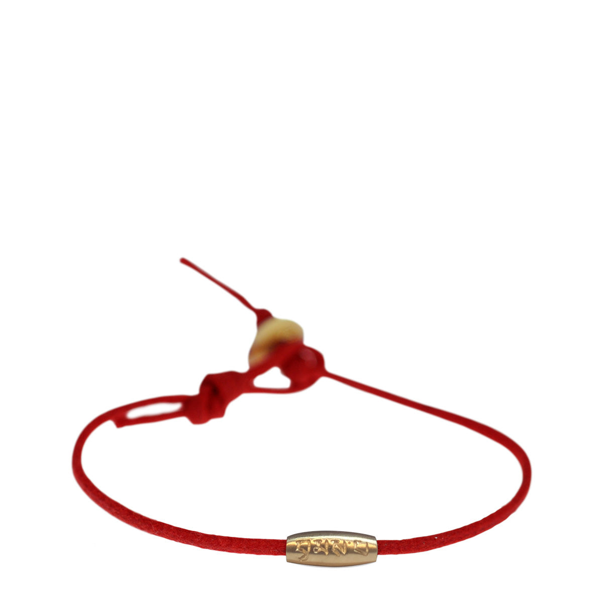 10K Gold Fine Love Bead Bracelet on Red Cord