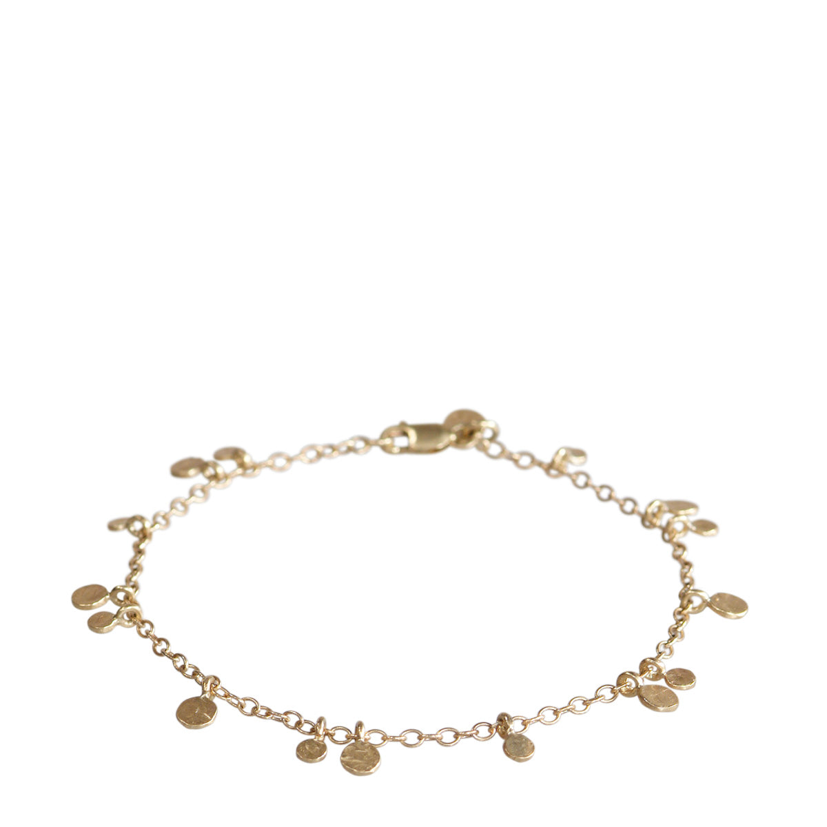 10K Gold Tiny Hammered Disc Bracelet