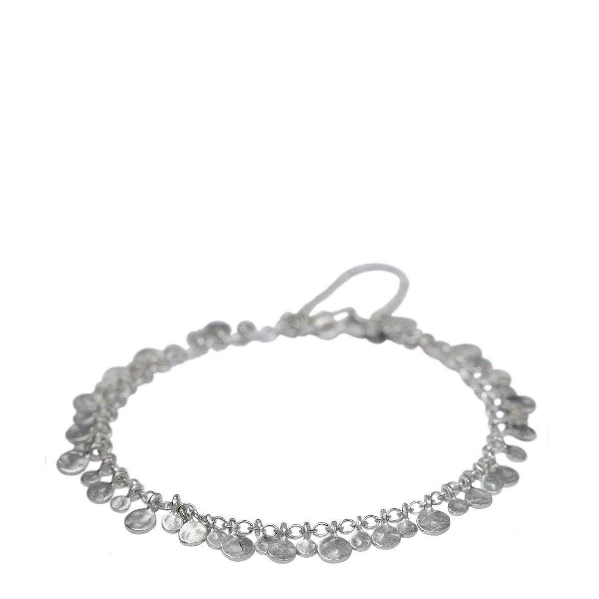 Sterling Silver Full Tiny Hammered Disc Bracelet