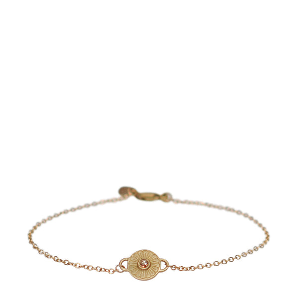 10K Gold Flower Bracelet with Brown Diamond