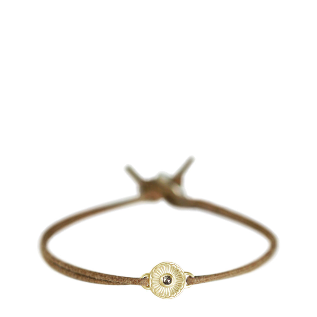 10K Gold Flower Bracelet with Brown Diamond on Natural Cord