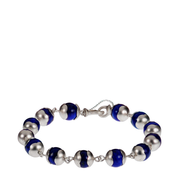 Sterling Silver Full Flower Cap Lapis Bead Bracelet on Wire