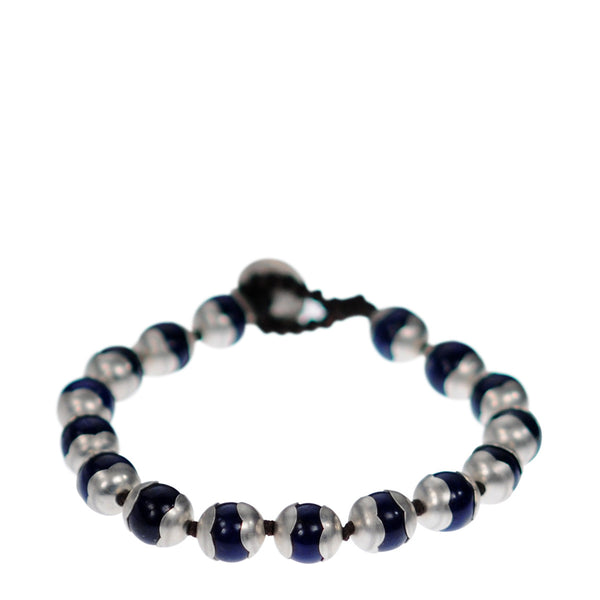 Sterling Silver Full Flower Cap Lapis Bead Bracelet on Cord