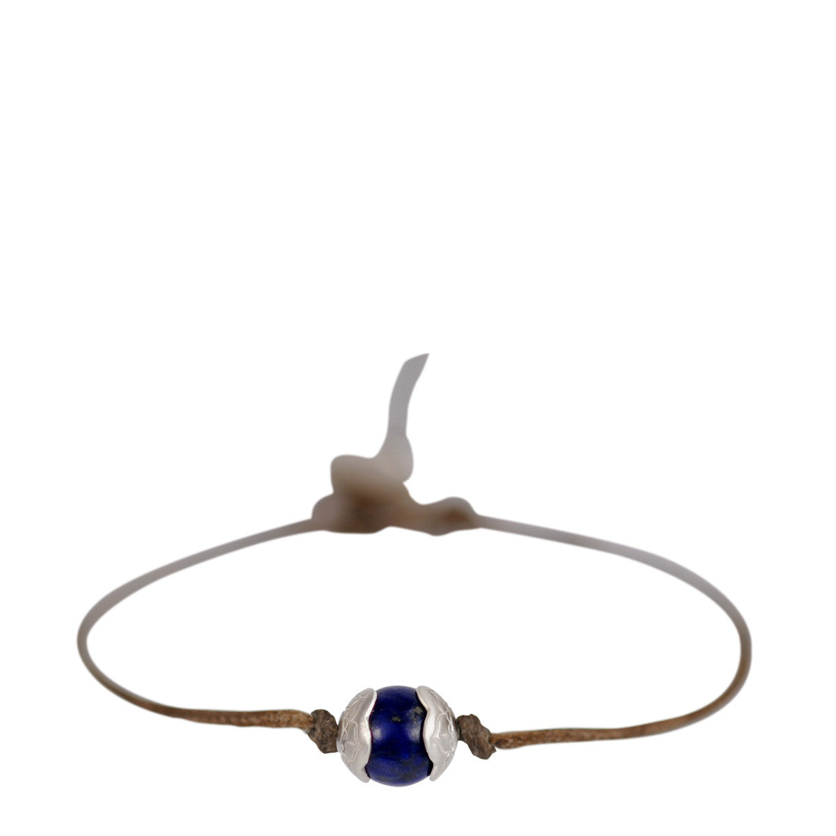 Sterling Silver Single Engraved Flower Cap Bracelet with Lapis on Cord
