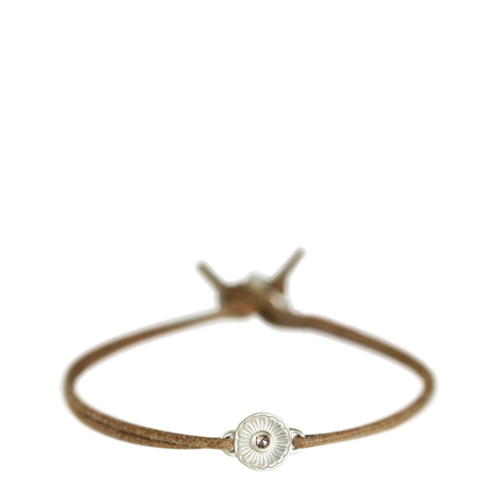 Sterling Silver Flower Bracelet with Brown Diamond on Natural Cord