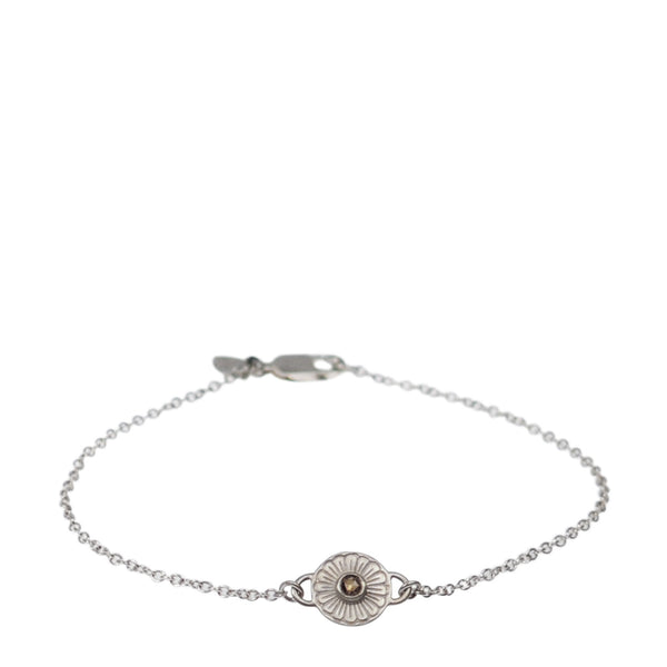Sterling Silver Flower Bracelet with Brown Diamond