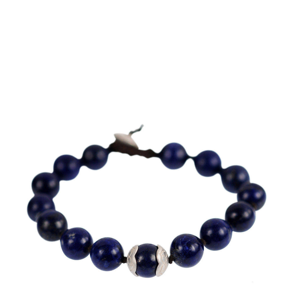 Men's Sterling Silver Large Lapis Bead Bracelet on Cord