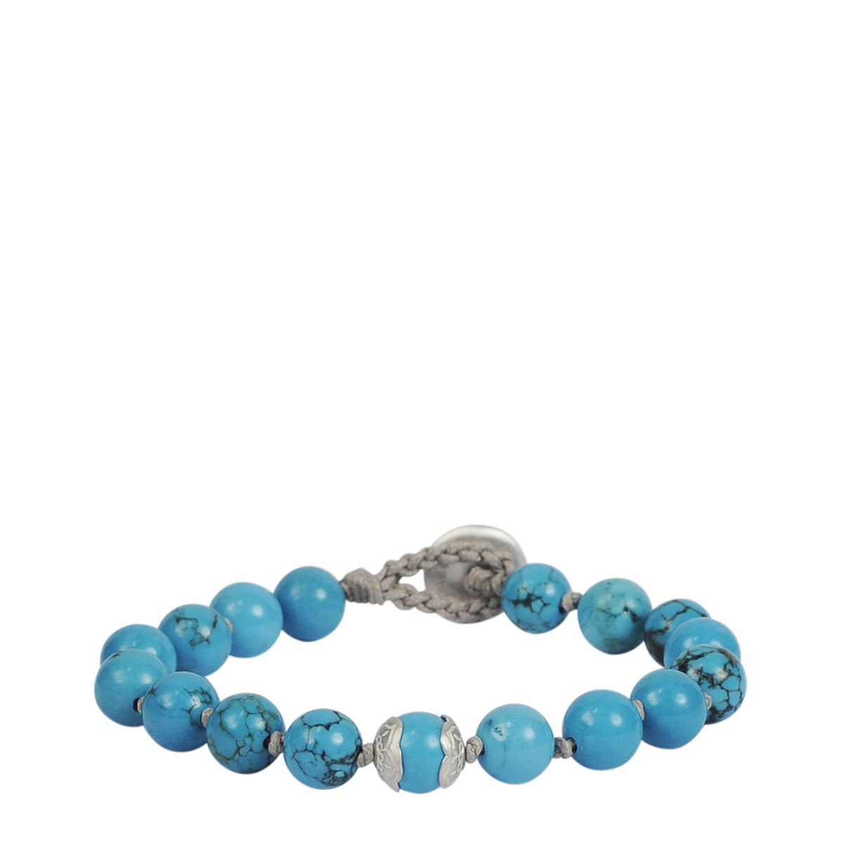 Sterling Silver Medium Turquoise Bracelet on Cord