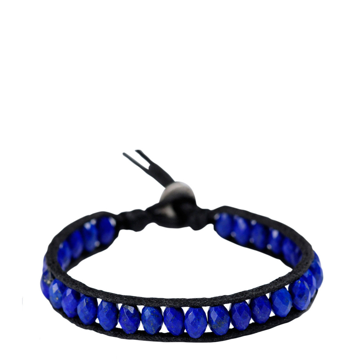 Men's Sterling Silver Single Wrap Lapis Barrel Bracelet
