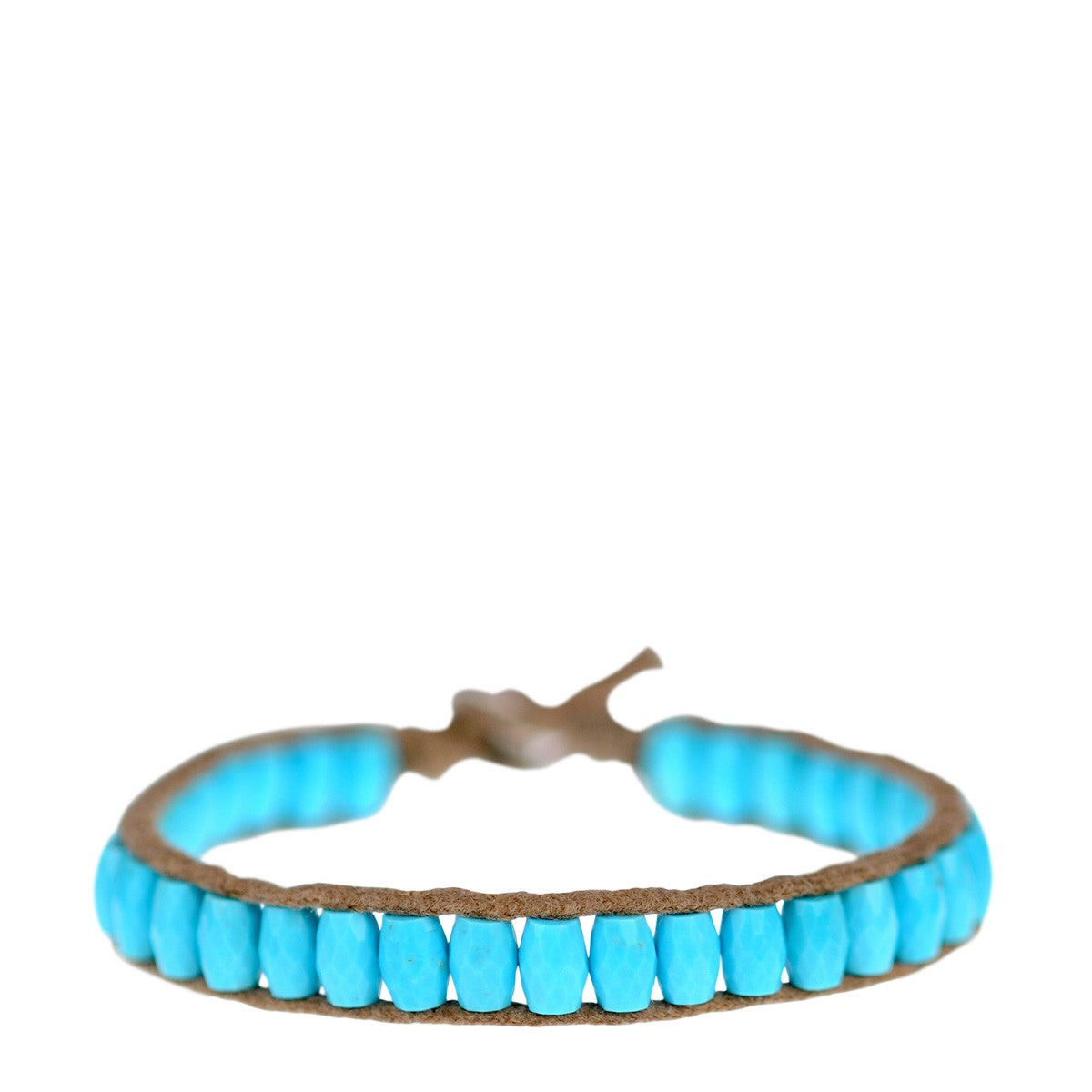 Sterling Silver Single Wrap Turquoise Barrel Bracelet on Natural Cord