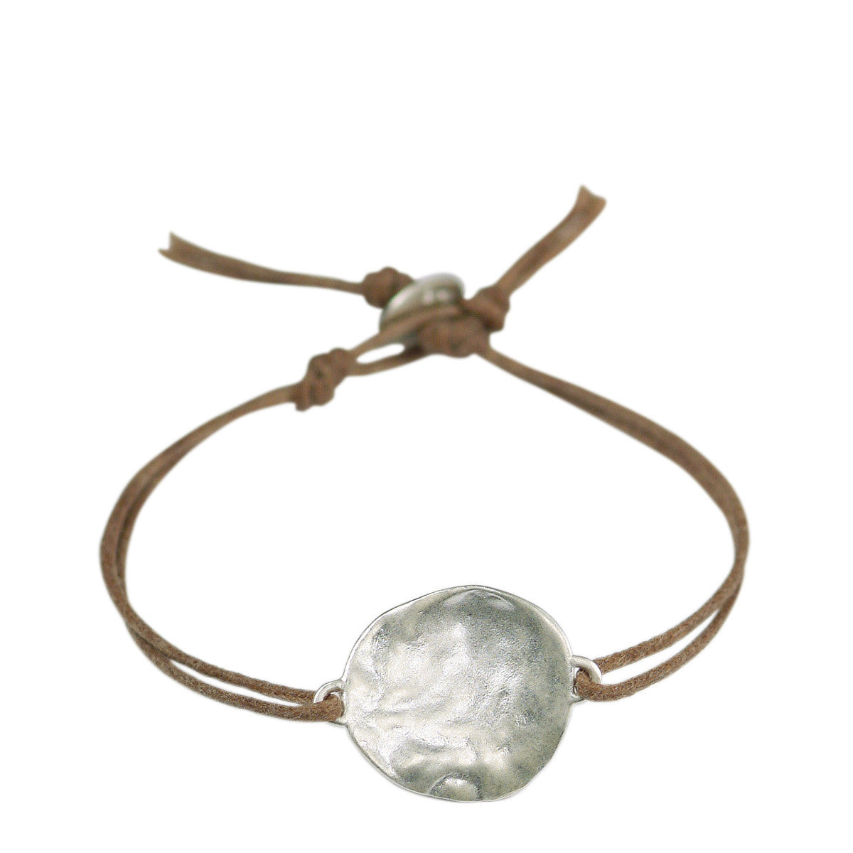 Sterling Silver Flat Shell Bracelet on Cord