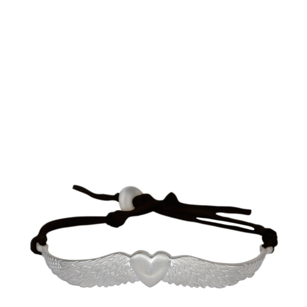 Sterling Silver Heart & Wing Bracelet on Black Cord