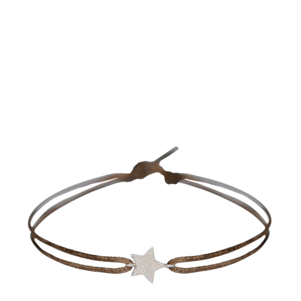 Sterling Silver Paisley Star Bracelet on Cord