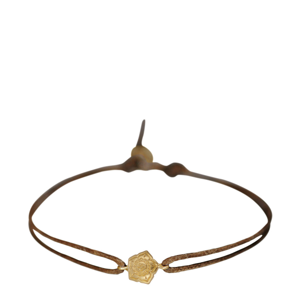 10K Gold Small Om Flower Bracelet on Cord