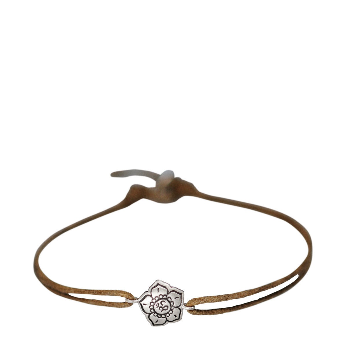 Sterling Silver Om Flower Bracelet on Cord