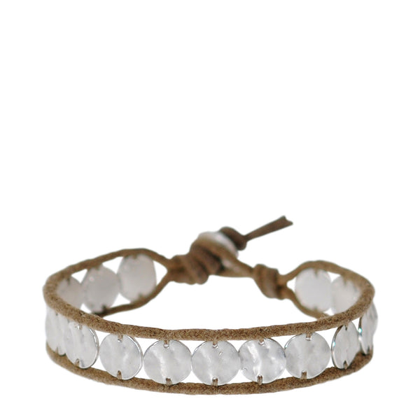 Sterling Silver Sequin Shell Bracelet on Cord