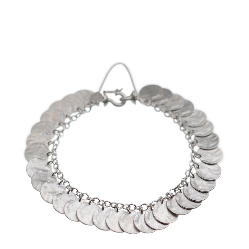 Sterling Silver Full Shell Disc Bracelet