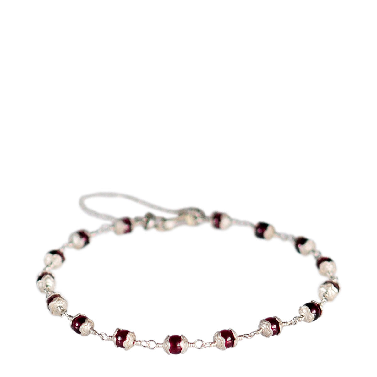 Sterling Silver Tiny Flower Capped Bracelet in Garnet