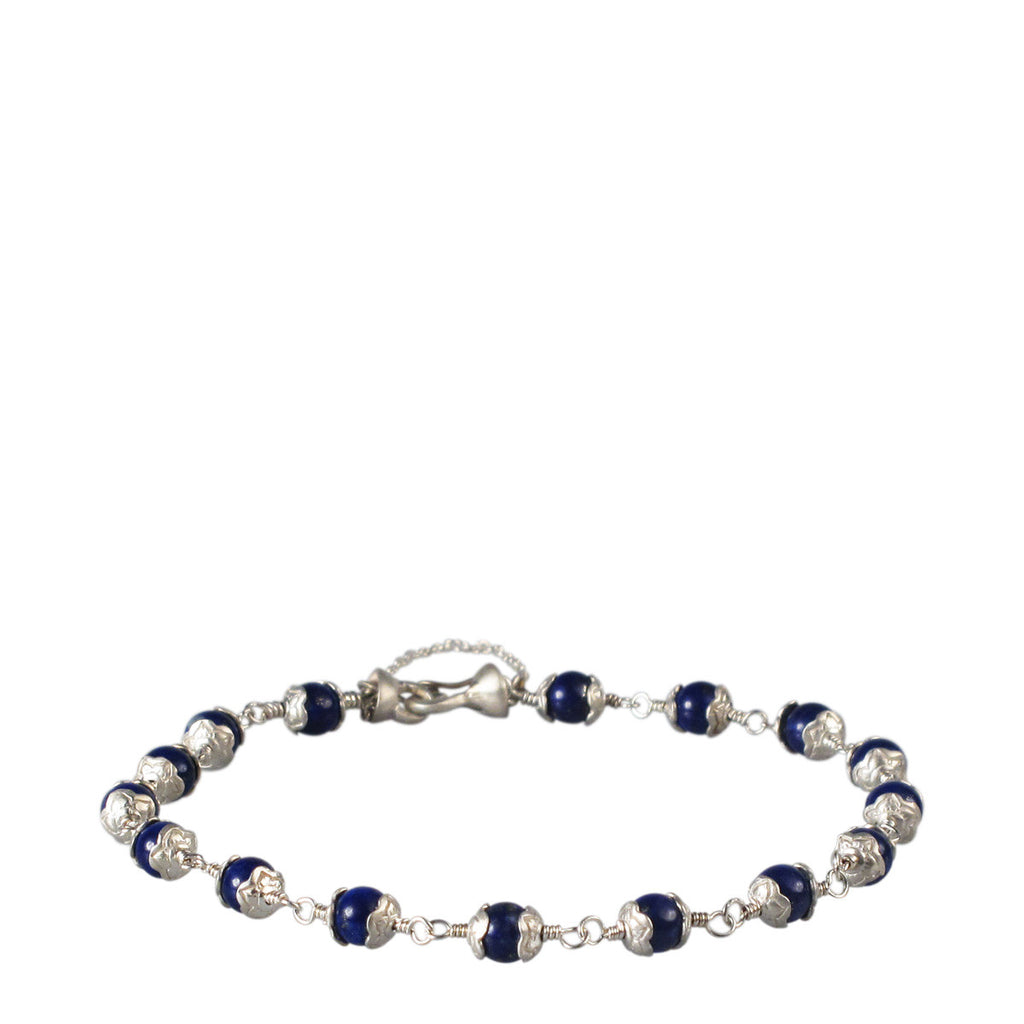 Sterling Silver Tiny Flower Capped Bracelet in Lapis