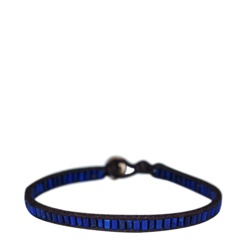 Sterling Silver Single Wrap Tube Bracelet in Lapis on Black Cord