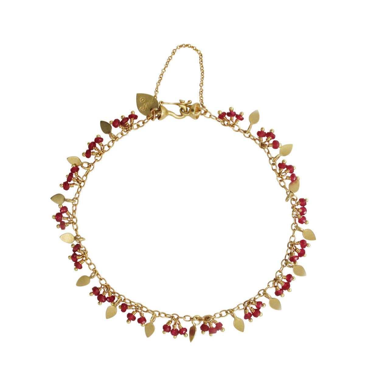 18K Gold Tiny Petal and Ruby Bracelet