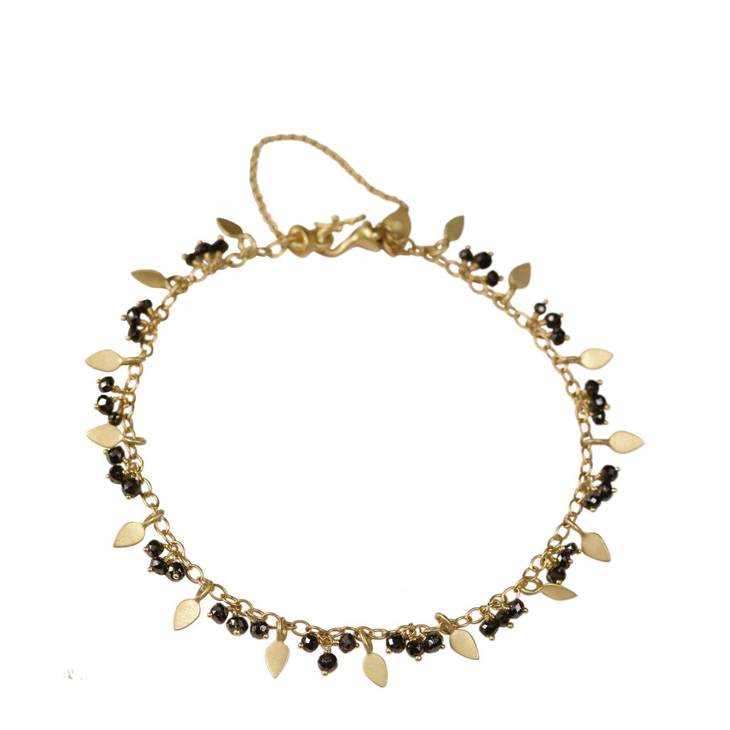 18K Gold Tiny Petal and Black Diamond Bracelet