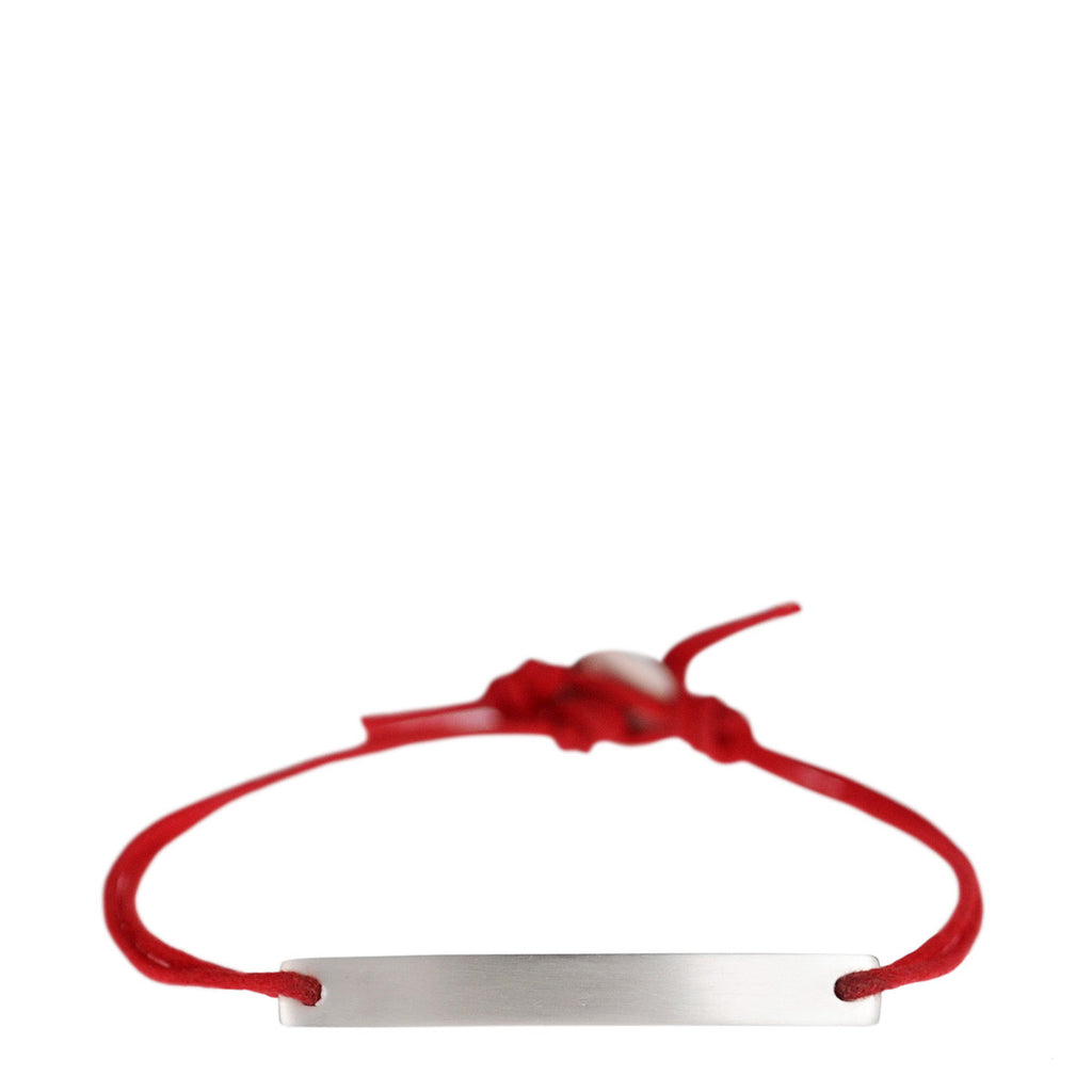 Men's Sterling Silver ID Bracelet on Red Cord
