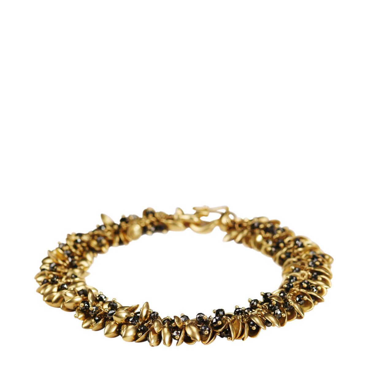 18K Gold Baby Pod Bracelet with Black Diamonds