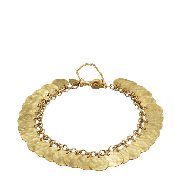 18K Gold Full Hammered Disc Bracelet