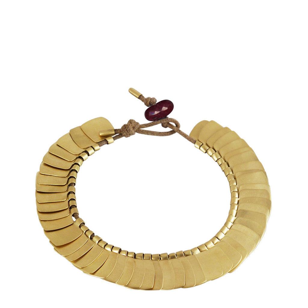 18K Gold Full Flattened Square Bracelet with Ruby Bead