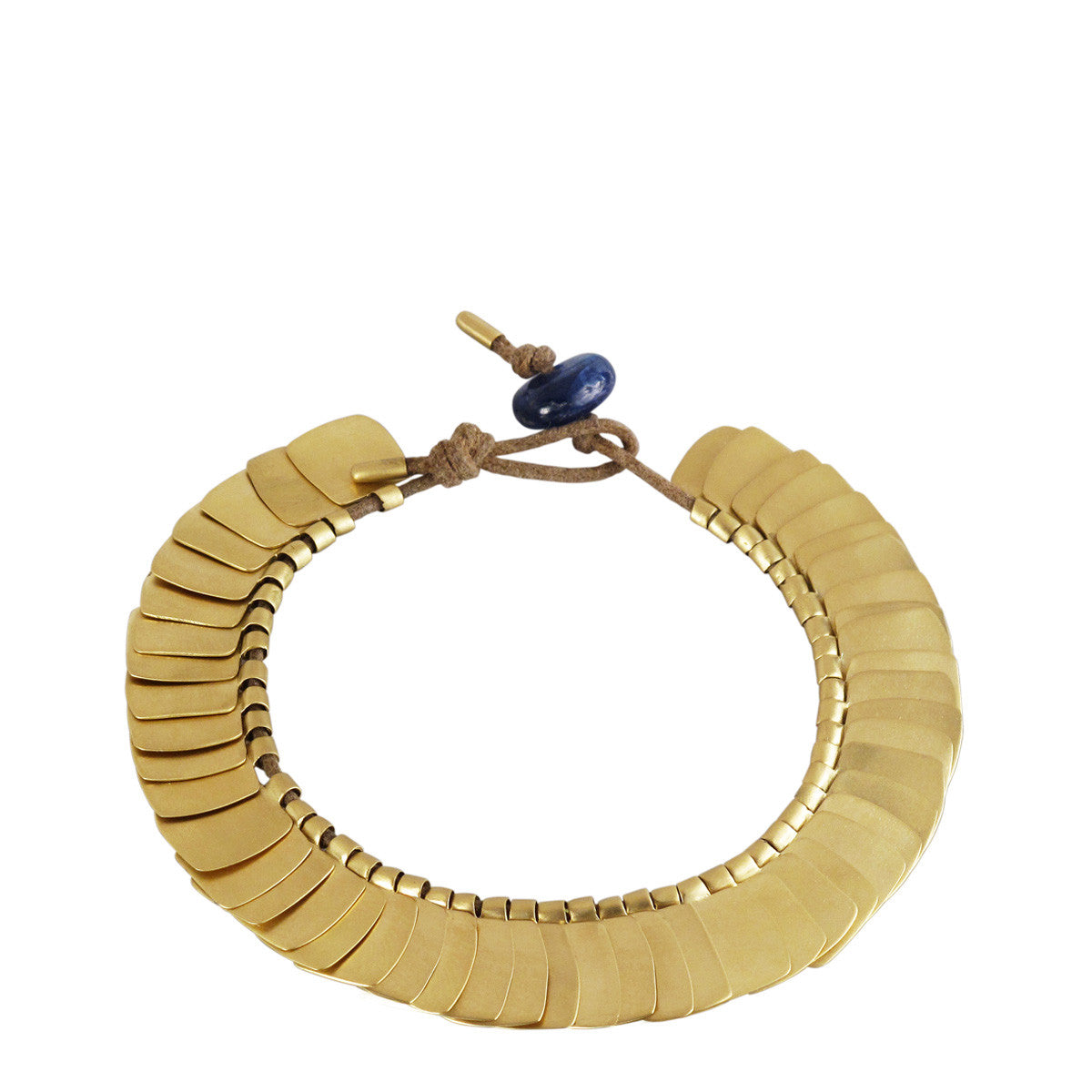 18K Gold Full Flattened Square Bracelet with Sapphire Bead