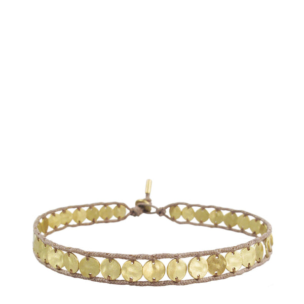 18K Gold Small Hammered Disc Bracelet on Cord
