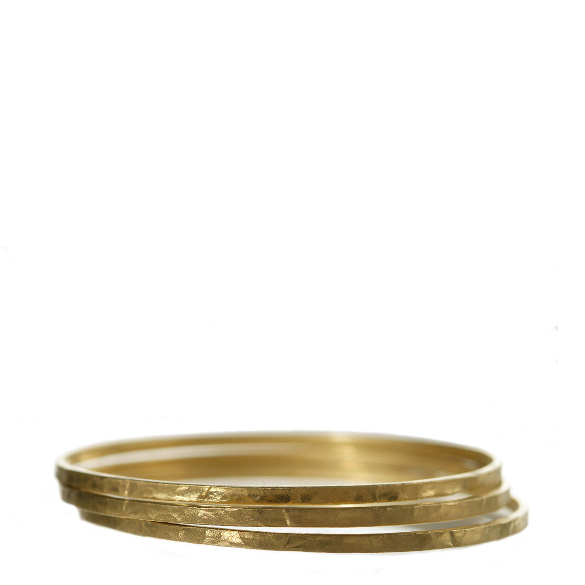 18K Gold Set of Three Hammered Bangles