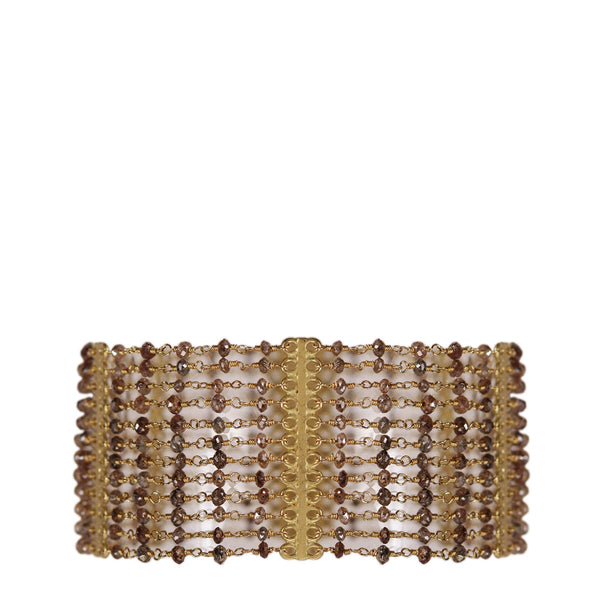 18K Gold 12 Strand Brown Diamond Bracelet