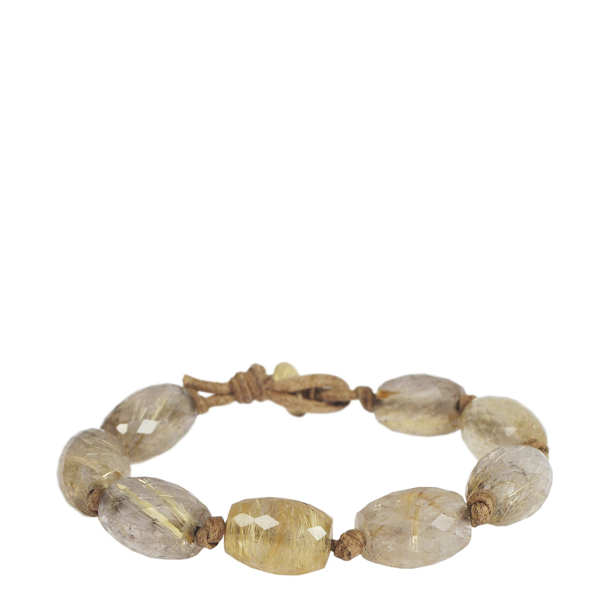 18K Gold Large Rutilated Quartz Beads on Cord